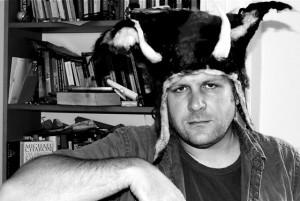 Matthew De Abaitua in felt horned hat with ears