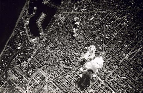 explosion on city from above