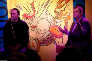 Will Self and Matthew De Abaitua at the Excess Express night at the Enterprise, Chalk Farm