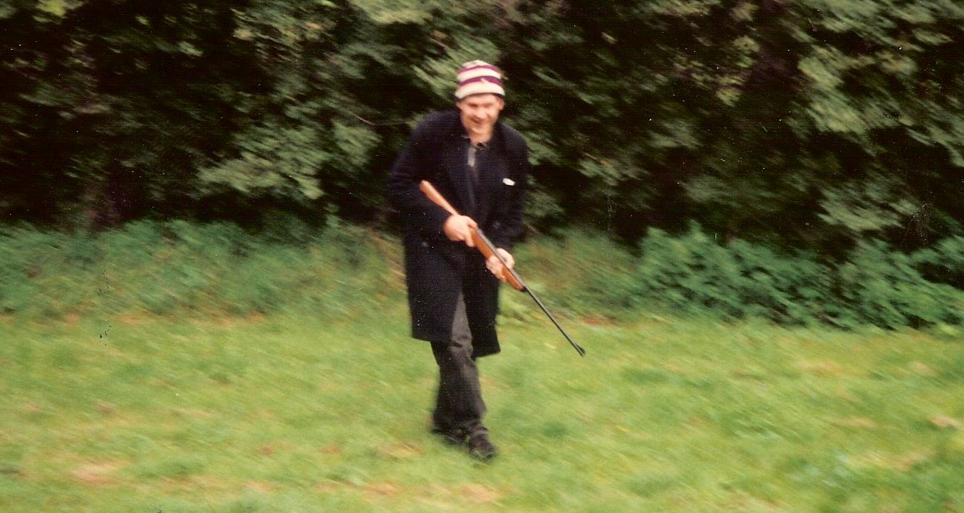matthew de abaitua with air rifle in suffolk