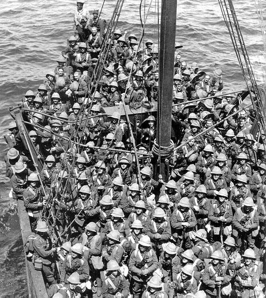 Lancashire Fusiliers on the boat to Gallipoli